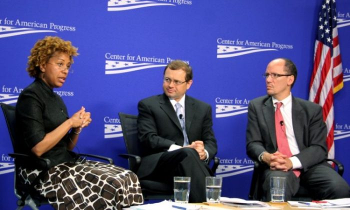 (L to R) Patrice Ficklin, Assistant Director for the Office of Fair Lending & Equal Opportunity, Consumer Financial Protection Bureau; Tom Perriello, President and CEO, Center for American Progress Action Fund (moderator); and Tom Perez, Assistant Attorney General for Civil Rights, U.S. Department of Justice discussed predatory and discriminatory lending in the United States. (Gary Feuerberg/ The Epoch Times)