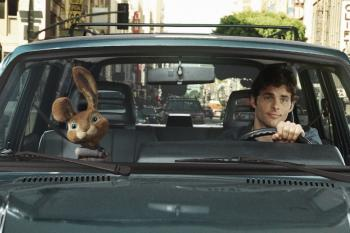 CRUISING: A scene from 'Hop,' the live action/CG-animated comedy, starring James Marsden (R) and the voice talent of Russell Brand, who plays the teenage son of the Easter Bunny (L).  (Rhythm & Hues/ Universal Pictures)