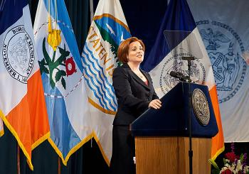 STATE OF THE CITY: Council Speaker Christine Quinn spoke of the problems the Council plans to address in 2011.  (Amal Chen/The Epoch Times)