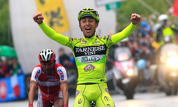 Farnese-Vini's Matteo Rabottini celebrates after crossing the finish line of Stage 15th of the Giro d'Italia. (Luk Benies/AFP/GettyImages)