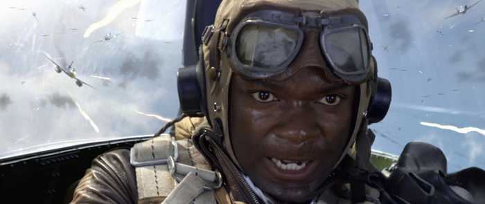 "Black pilot in cockpit in ""Red Tails"""