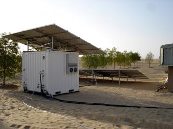 SOLAR FILTER: Integrated photovoltaic solar panels charge the Solar Container 24-volt batteries to provide clean, disease-free water in disaster relief efforts. (Trunz Water Systems AG)
