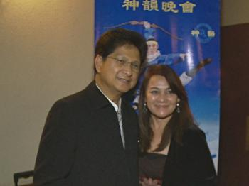 Mr. Rene Pane and his wife, at Shen Yun Performing Arts in Pasadena, California. (Courtesy of NTD Television)