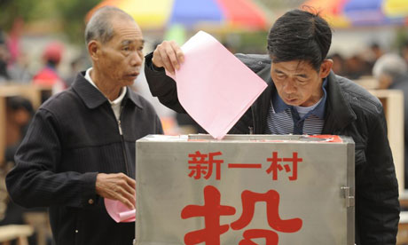 Residents vote in Wukan during the election they were promised after rising up against village authorities. (AFP/Getty)