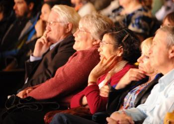 Members of the audience enjoying the Shen Yun show at Canon Theatre in Toronto on Saturday night. (Gordon Yu/The Epoch Times)