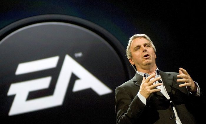 Electronic Arts CEO John Riccitiello talks about new games at an EA press briefing ahead of the Electronic Entertainment Expo (E3) of 2010 in Los Angeles. (Michal Czerwonka/Getty Images)