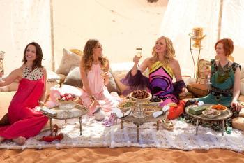 (L-R) Kristin Davis as Charlotte York, Sarah Jessica Parker as Carrie Bradshaw, Kim Cattrall as Samantha Jones, and Cynthia Nixon as Miranda Hobbes in 'SATC2'. (Craig Blankenhorn/Warner Bros. Pictures )
