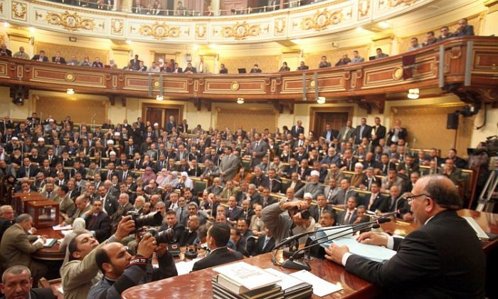 A view of some of the Muslim Brotherhood members who currently occupy 47 percent of the seats in the Egyptian Parliament. (Asmma Waguih-Pool/Getty Images)