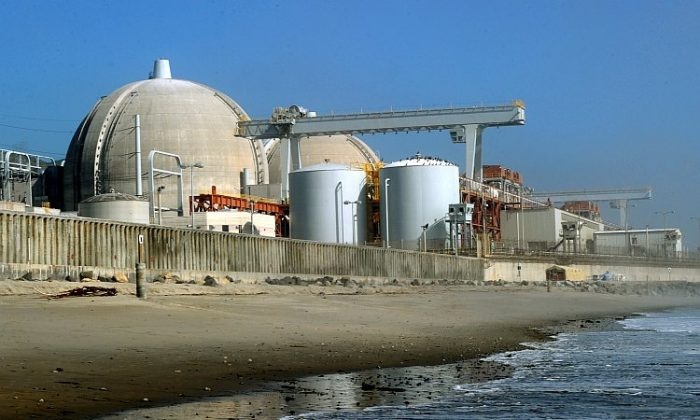 The San Onofre Nuclear Power Plant sits at the edge of the Pacific Ocean and provides much of Southern California's power. The plant was shut down after a leak was detected earlier this year, and federal regulators still don't know when it will be running again. (Mark Ralson/AFP/Getty Images)