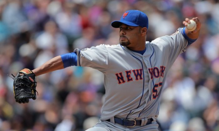 Johan Santana pitched six scoreless innings in the win. DOUG PENSINGER/GETTY IMAGES