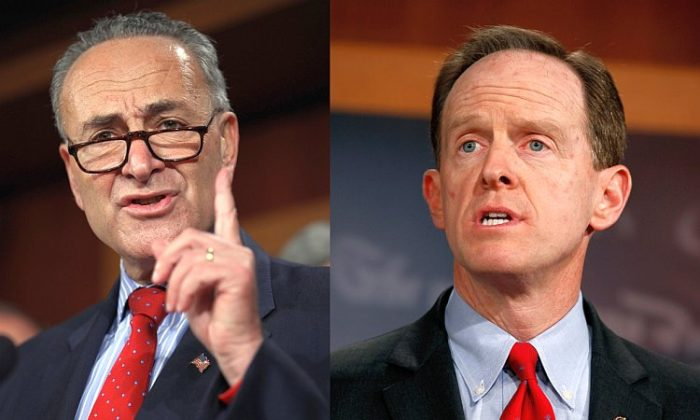 Sen. Charles Schumer (D-N.Y.) (L), and Sen. Pat Toomey (R-Penn.) appeared on Sunday talk shows to present both Democratic and Republican viewpoints on why the congressional supercommittee failed to reach a debt reduction compromise last week. (Chip Somodevilla/Getty Images)
