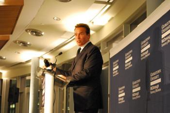 Arnold Schwarzenegger, Republican governor of California supports President Obama's clean energy policy. He spoke Oct. 29, at the commemoration of the Rafik B. Hariri Building at Georgetown University's McDonough School of Business. (Ronny Dory/The Epoch Times)