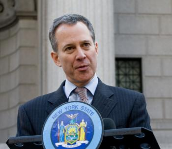Senator Schneiderman spoke outside the supreme court on Wednesday, addressing a proposed legislation aimed at exonerating wrongfully convicted.  (Jasper Fakkert/The Epoch Times)