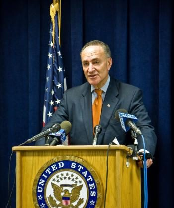U.S. Senator Charles E. Schumer (D-NY) speaks at a press conference on Nov. 9 about preventing stimulus money being used for the production of wind turbines in China, instead of creating jobs in the U.S. (Jasper Fakkert/The Epoch Times)
