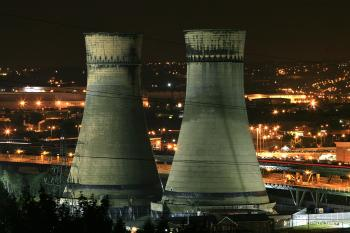 The Tinsley cooling towers, that for 70 years stood as symbol of Sheffield's industrial heritage, are floodlit as they wait for demolition with explosives on August 23, 2008 ( Christopher Furlong/Getty Images)