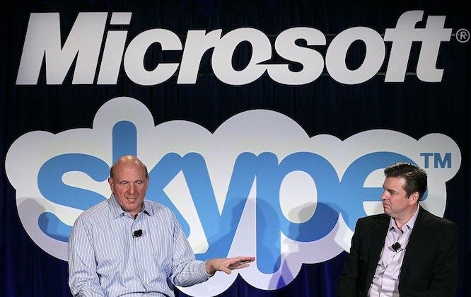 Microsoft CEO Steve Ballmer (L) and Skype CEO Tony Bates (R) speak during a news conference about Microsoft's purchase of Skype in San Francisco on May 10, 2011. (Justin Sullivan/Getty Images)