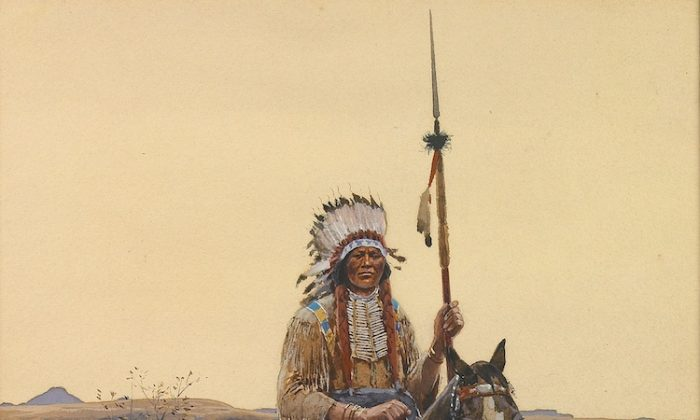 """Southern Plains Indian Warrior,"" 1894, by American artist Henry F. Farny (1847–1916), 16 inches by 11 inches. (Courtesy of Bonhams)"