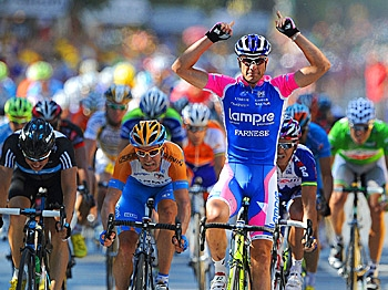 Alessandro Petacchi (R) celebrates on the finish line as he wins Stage Four of the 2010 Tour de France. (Pascal Pavani/AFP/Getty Images)