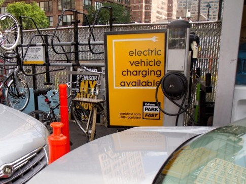 The electric vehicle charging station at 451 9th Avenue in Manhattan, operated by Edison Park Fast, is used by one or two cars a month, according to a manager. Free coupons are listed on the company's website. (Zackary Stieber/The Epoch Times)