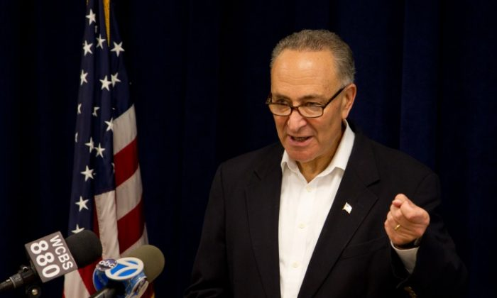U.S. Sen. Charles Schumer at his Midtown Manhattan office Sunday announced his advocacy for stricter regulations on lasers. (Zachary Stieber/The Epoch Times)