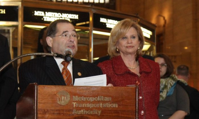 Representative Jerrold Nadler speaks at an event at Grand Central on Monday criticizing a new piece of legislation that cuts federal funding for public transit, with Rep. Carolyn Maloney. (Zachary Stieber/The Epoch Times)