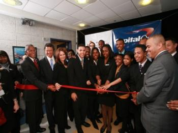 Student bankers cutting the ribbon at the grand opening of the Capital One Bank Branch at Thurgood Marshall Academy (Capital One Bank)