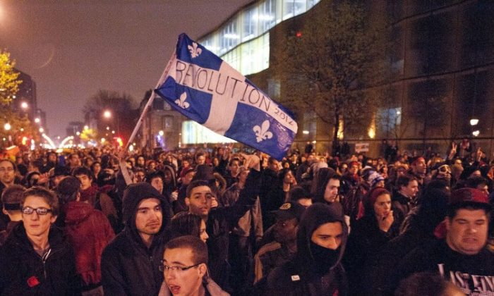 """Students protest in Montreal on April 26. The Canadian Federation of Students is warning that student debt across Canada is reaching """"dangerous levels."""" (Rogerio Barbosa/AFP/GettyImages)"""