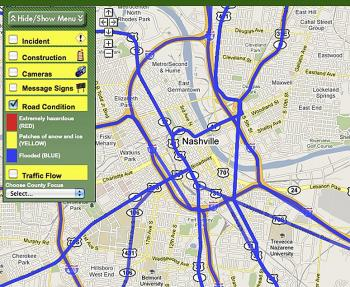 Screenshot of a Tennessee Department of Transportation Smartmap of Nashville, Tennessee at 7:15pm EDT Sunday. The blue lines represent flooding throughout the city. (Screenshot from of a Tennessee Department of Transportation website)