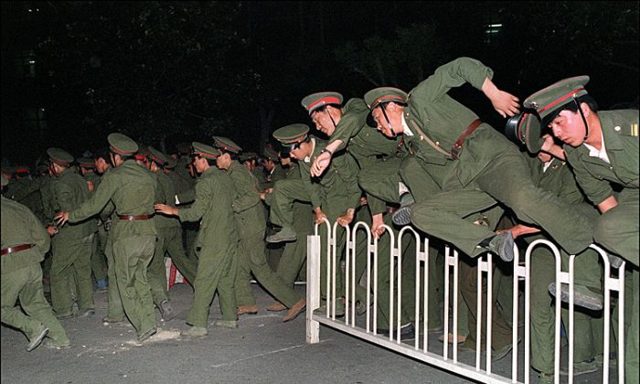 "The term ""maintain social stability"" (""weihu shehui wending"") began appearing more in official and academic output after 1989, a result of the political line set down by Deng Xiaoping in the wake of the Tiananmen Square massacre: that the Communist Party at the helm equals stability, and as such, only the Party can ensure China's growth. The newspaper database begins in 2000. The drop in academic references to the term during the time that China was hosting the Olympics may have been due to Party commissars turning off the output tap, or a bug in data collection. In aggregate, the graphs demonstrate the focus put on propagation of this concept after 1989. (Credit: Diana Hubert/The Epoch Times) Data sources: Eastview China Academic Journals Full-text Database, OriProbe People's Daily Database, Eastview China Core Newspaper Full-text Database"