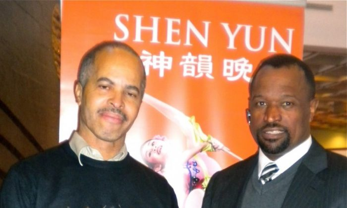 William Miller (L) and James Artis (R) attend Shen Yun Performing Arts at Tennessee Performing Arts Center. (Mary Silver/The Epoch Times)