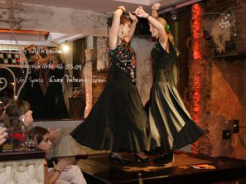 The Flamenco dancers at the Taberna opening. We were told that the tables are strong enough to survive an earthquake. (Wendy Jiang/Epoch Times)