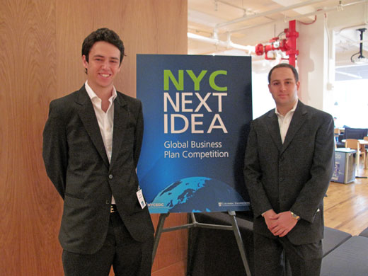 Tomas Grosskopf, Universidad de Buenos Aires (L) and Brian Shimmerlik, NYU Stern School of Business, MBA candidate, of TaxiTreats, one of the finalists in the Next Idea international business plan competition. (Courtesy of NYCEDC)