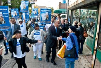 On the Nov. 3 election day in New York City, Comptroller Bill Thompson greets passersby in Queens. (Joshua Philipp/The Epoch Times)