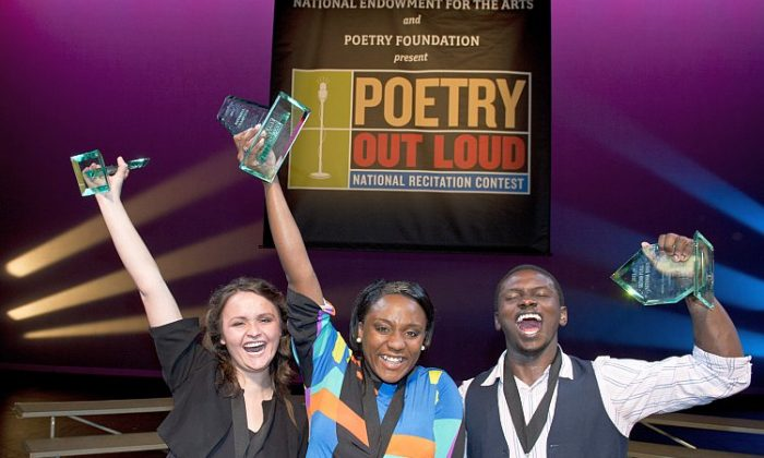 The three finalists (left to right): MarKaye Hassan, 3rd place, Kristen Dupard, national champion, and Claude Mumbere, 2nd place. (James Kegley/National Endowment for the Arts)