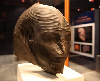 The Head of Amenhotep III, from the New Kingdom, Dynasty 18, is displayed at new exhibition at the Egyptian Museum in Cairo. Inside of Amenhotep III's tomb, a large statue of Thoth was discovered this week in Luxor, Egypt. (Victoria Hazou/Getty Images)