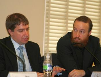 Maxim Trudolyubov (left), Op-Ed Editor of Vedomosti, and Grigory Shvedov, Chief Editor of The Caucasian Knot, were invited to speak by the Helsinki Commission on the erosion of independent media in the Russian Federation. They spoke Nov 3 in Washington DC (The Epoch Times)