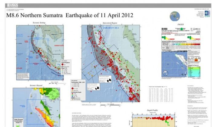 An overview of the 8.6-magnitude earthquake that hit the west coast of northern Sumatra on April 11. (Courtesy of USGS)