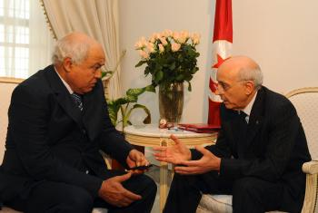 Tunisian Prime Minister Mohamed Ghannouchi (R) meets Tunisia's opposition left-wing Ettajdid (Renewal) party leader Ahmed Brahim (L) to compose a government on January 15, 2011 in Tunis.  (STR/Getty Images)