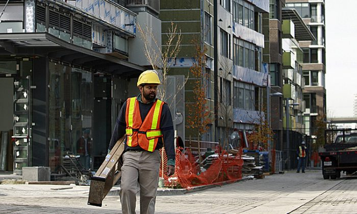 File photo showing a construction site in Vancouver, British Columbia. The construction industry in the Canadian province, facing a severe worker shortage, sent a delegation to Ireland to try to recruit 80,000 construction workers. (Jeff Vinnick/Getty Images)
