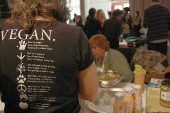 The NYC Vegetarian Food Festival not only left out the meat, but also the eggs and the dairy. A total of 62 stalls were set up in the Altman Building for the inaugural event on Sunday. (Tara MacIsaac/The Epoch Times)