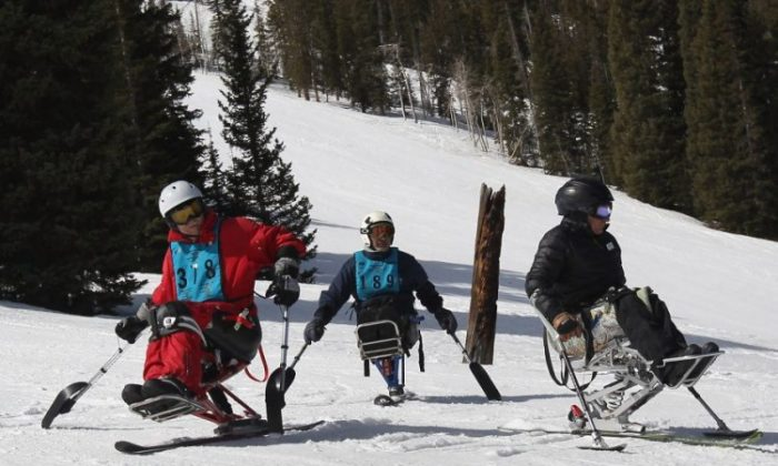 Disabled military veterans ski down the slope on mono-skis March 29 in Snowmass Village, Colo. More than 350 U.S. military veterans are taking part in the National Disabled Veterans Winter Sports Clinic held between March 25 and March 30 in Snowmass. The clinic is co-sponsored by the Department of Veterans Affairs and the Disabled American Veterans. It teaches winter sports with the aim to motivate veterans with traumatic brain injuries, spinal cord injuries, orthopedic amputations, visual impairments, and neurological problems to heal physically and mentally. (John Moore/Getty Images)