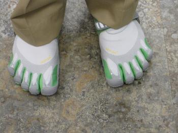 Vibram Five-Fingers are unique shoes for a new walking or running experience.  (Louise McCoy/The Epoch Times)
