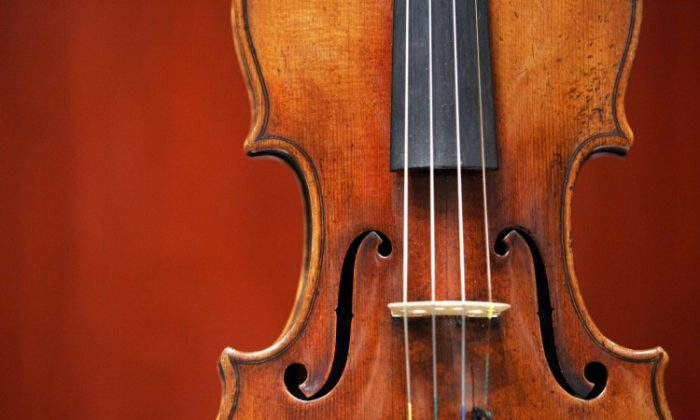 A 1729 Stradivari known as the 'Solomon, Ex-Lambert' is on display March 27, 2007 at Christie's in New York. (Don Emmert/AFP/Getty Images)