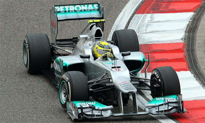Mercedes-AMG driver Nico Rosberg scored the team's first pole and the first for Mercedes since 1955 qualifying for the Formula One Chinese Grand Prix. (Mark Ralston/AFP/Getty Images)