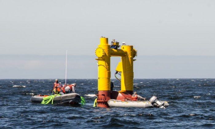 A look at the WET-NZ device as it was during its testing operations 2-3 miles off the coast off Newport, Ore. New research in energy harnessed from waves is expanding the possibilities of America's energy resources. (Pat Kight/Oregon Sea Grant)