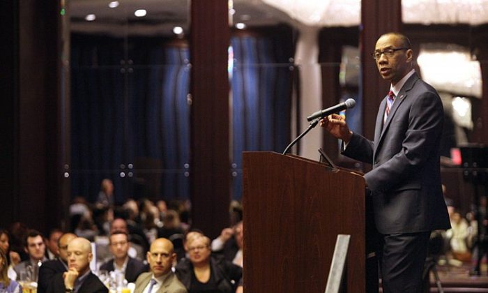 New York City Department of Education Chancellor Dennis Walcott addresses the ABNY breakfast on Thursday morning in Midtown Manhattan, proposing two policy changes to improve the quality of teachers in New York City Public Schools. (Photo courtesy of the Mayor's Office/Edward Reed)
