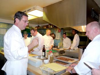 Walter Scheib (L) while planning the White House dinner at James Beard Foundation. (Nadia Ghattas/The Epoch Times)