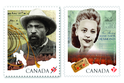 Canada Post commemorative stamps released in February feature iconic African-Canadians John Ware and Viola Desmond in honour of Black History Month. (Courtesy Canada Post)