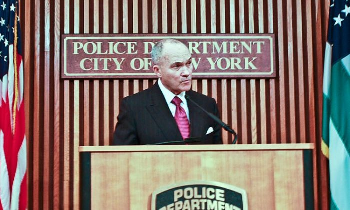 Police Commissioner Raymond Kelly announces at a press conference on Tuesday a citywide awareness campaign to encourage New Yorkers to report domestic violence. (Christian Watjen/The Epoch Times)