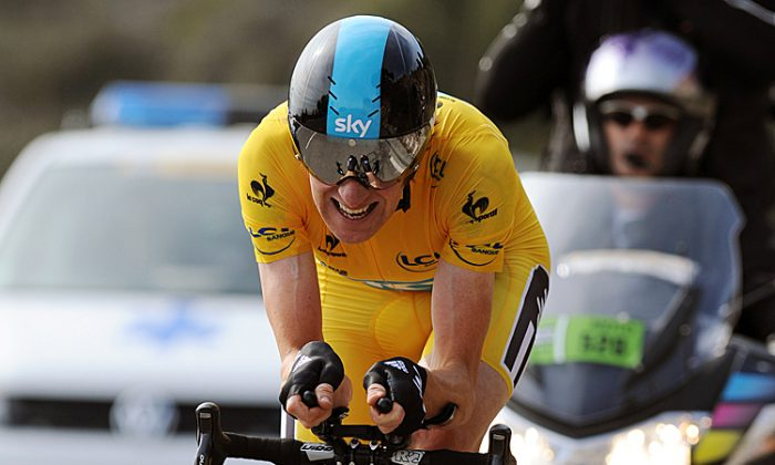 British Bradley Wiggins rides to victory in Stage Eight of Paris-Nice, the 9.6 km time-trial up Col d'Eze. Pascal Pavani/AFP/Getty Images)